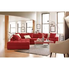 Red Furniture Living Room Venti 5 Piece Sectional With Cocktail Ottoman Red Value City