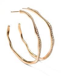 gold hoop earings ippolita drizzle 3 wavy diamond gold hoop earrings