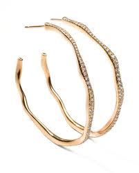 gold hoop earrings ippolita drizzle 3 wavy diamond gold hoop earrings