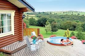 find lodges log cabins with tubs cheap breaks holidays