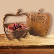 amazon com bamboo folding apple basket kitchen u0026 dining