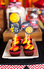 firefighter cupcake toppers the coolest fireman party