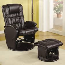 Fabric Glider Recliner With Ottoman Coaster Recliners With Ottomans 600164 Casual Leather Like Glider