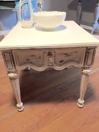 distressed white end table vintage end table white end