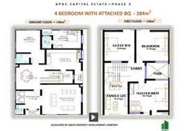 nice high end house plans 5 4 bedroom with attached bq 284m png