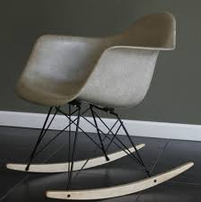 eames herman miller fiberglass shell rocking chair grey dark