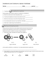 endothermic and exothermic reaction worksheet chemical reactions