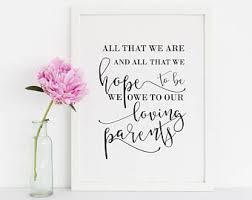 wedding quotes parents owe to our parents etsy
