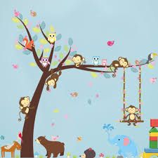 compare prices monkey room decor online shopping buy low price newest removeable wall stickers painting monkey swing pattern room decoration children kindergarten living