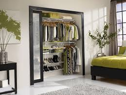 wooden glass sliding doors furniture five rods opened shelves drawers reach in closet