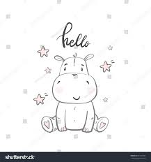 cute hippo illustrations children baby shower stock vector
