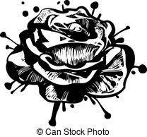 clipart vector of sketch of rose flower garden plants a sketch