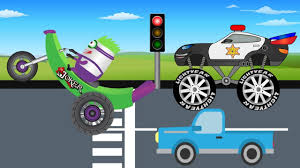 monster trucks kids video minion joker vs police monster truck minions cartoon video for