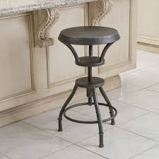 industrial metal design adjustable height swivel bar stool in