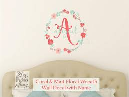 coral mint wall decal monogram and name with floral wreath