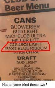michelob ultra vs bud light beer menu cans budweiser bud light michelob ultra miller lite colors
