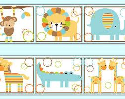 Jungle Wall Border Etsy - Kids room wallpaper borders