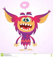 halloween vector happy cartoon gremlin monster in love halloween vector goblin or