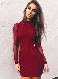 bodycon dress mock neck sleeve mesh bodycon dress novashe
