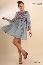 cool dresses floral embroidered bell sleeve keyhole dress cool grey