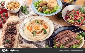 id d o cuisine lebanese food middle eastern traditional cuisine top view stock