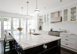 carrara marble kitchen island calcutta marble countertop transitional kitchen porchlight