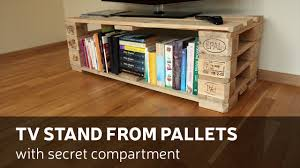 How To Make A Table Out Of Pallets How To Make A Tv Stand From Pallets With Secret Compartment Youtube