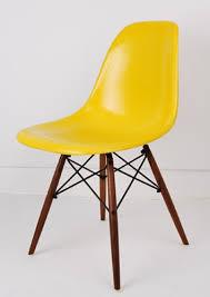 Yellow Retro Kitchen Chairs - eames stol dsr dsw gul glasfiber stole vintage