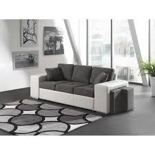 canapé avec pouf oslo canapé droit 3 places tissu pvc gris blanc achat vente