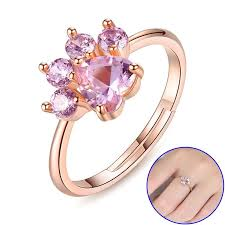 cute rings images 925 sterling silver rose gold cat paw ring freakypet jpg