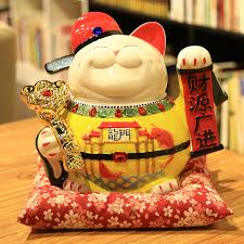 ceramic lucky cat ornament large oversized blooming business