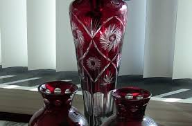 Ruby Vases Pair Of Czech Bohemian Ruby Glass Cut To Clear Vases Rockwell