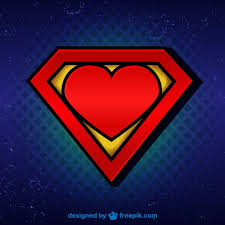 superman logo with heart vector free download
