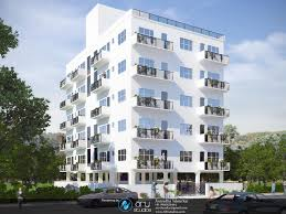 great design modern apartment exterior with cream floor tile can