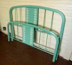 antique vintage french green metal bed full by shabbyhomefurniture