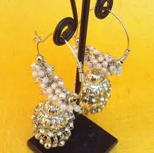 punjabi jhumka earrings buy rows of chandni pearl silvery bali jhumka hoop indian