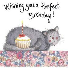 Cat Birthday Cards Cat Birthday Card Grey Cat Cake Candle Alex Clark Art