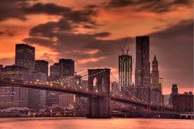 new york city photograph sunset brooklyn bridge urban zoom