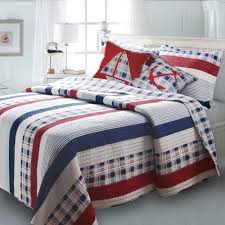 beach themed bedding full red white navy blue striped boys inside
