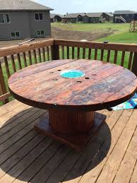 outdoor tables made out of wooden wire spools diy rustic wooden spool fire pit table gas fire pit table gas