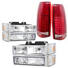 euro tail lights for chevy silverado chevy silverado 1988 1993 headlights and led tail lights red clear