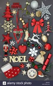 christmas symbols with gold noel sign new and old fashioned