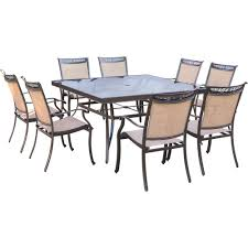 hanover fontana 9 piece aluminum square outdoor dining set with