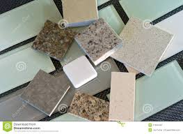 Kitchen Backsplash Samples by Backsplash Tiles And Quartz Countertop Samples Stock Photo Image