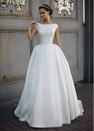 modest wedding gowns simple satin vintage modest wedding dresses 2017 cap sleeves