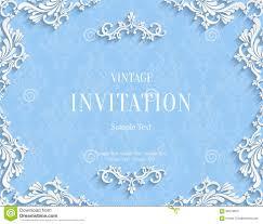 Floral Invitation Card Designs Vector Blue Vintage Invitation Card With 3d Floral Damask Pattern