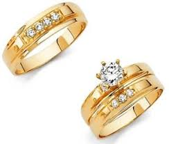 gold wedding ring sets 14k solid yellow italian gold wedding band bridal solitaire