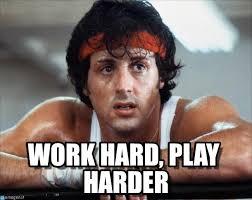 Stallone Meme - work hard play harder stallone 2 meme on memegen