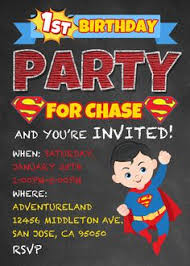 personalised superman invitations printed on professional 300 gsm