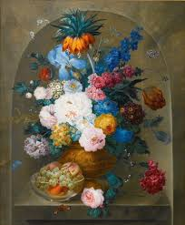 file still life of flowers in a vase with a bowl of fruit by